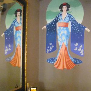 Completed geisha mural decorative art interior design